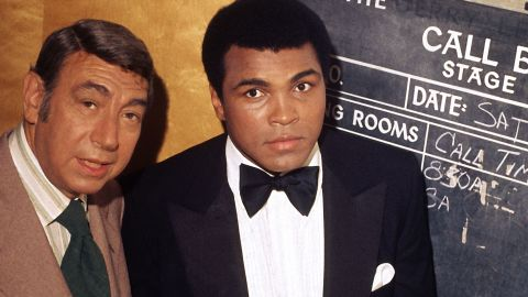"""Muhammad Ali is photographed with Howard Cosell backstage before """"The Muhammad Ali Variety Special"""" in July of 1975."""