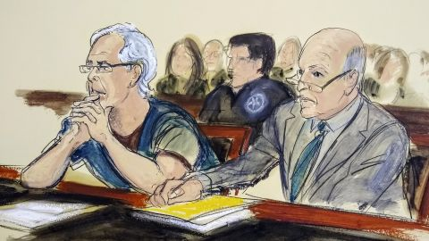 Jeffrey Epstein, left, and his attorney Martin Weinberg listen during a bail hearing in federal court on July 15 in New York.