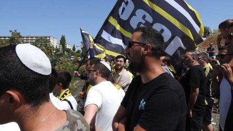 Beitar fans attend an open practice session in Jerusalem.