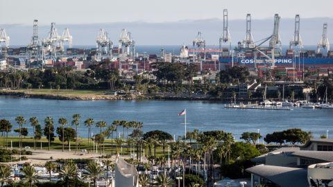 A view of the San Pedro harbor where Elmezayen drove off a wharf.