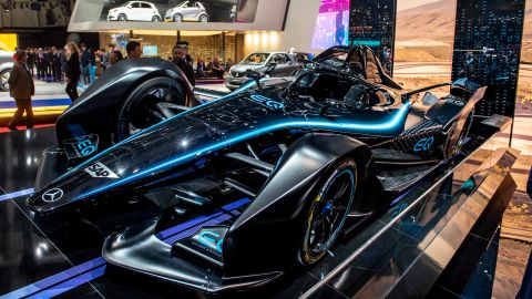 GENEVA, SWITZERLAND - MARCH 05: Mercedes formula-e car is displayed during the first press day at the 89th Geneva International Motor Show on March 5, 2019 in Geneva, Switzerland. (Photo by Robert Hradil/Getty Images)