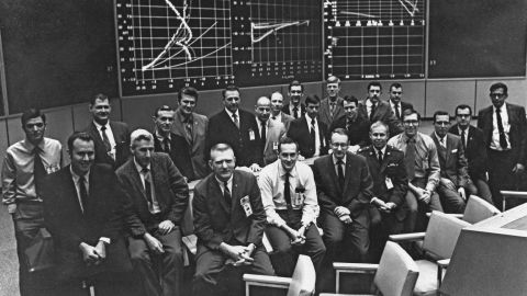Spencer Gardner, seen here in the first row and fourth from right, was one of the youngest men in the room during the Apollo 11 landing.
