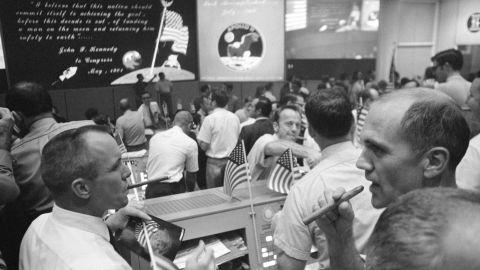 Apollo 11 Mission Control celebrates the splashdown.