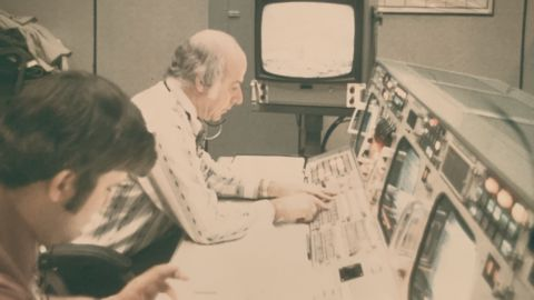 Ed Fendell sits at his console.
