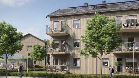 This rendering shows a BoKlok community designed for elderly residents.