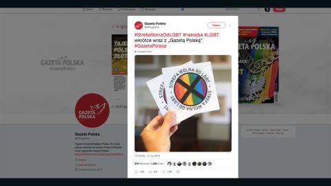 Gazeta Polska tweeted this picture of the anti-LGBTQ stickers.