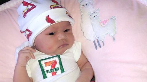 J'Aime Brown wears a 7-Eleven onsie to celebrate her viral birth story.