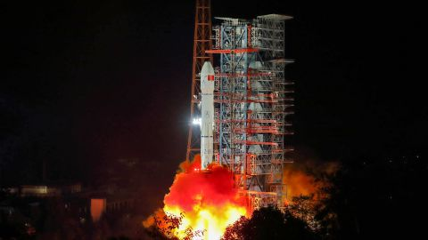 A Long March 3B rocket lifts off from  Xichang, in China's southwestern Sichuan province,  on December 8.