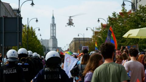 The police kept a protective ring around pride marchers throughout the three-hour march.
