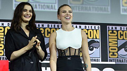 Rachel Weisz and Scarlett Johansson of Marvel Studios' 'Black Widow' appear at Comic-Con on Saturday.