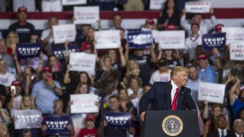 GREENVILLE, NC - JULY 17: President Donald Trump speaks during a Keep America Great rally on July 17, 2019 in Greenville, North Carolina. Trump is speaking in North Carolina only hours after The House of Representatives voted down an effort from a Texas Democrat to impeach the President. (Photo by Zach Gibson/Getty Images)