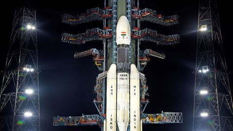 The GSLV MkIII-M1 rocket with India's Chandryaan-2 at the Second Launch Pad.