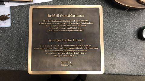 The memorial plaque for Iceland's Okjökull glacier paints a bleak picture.