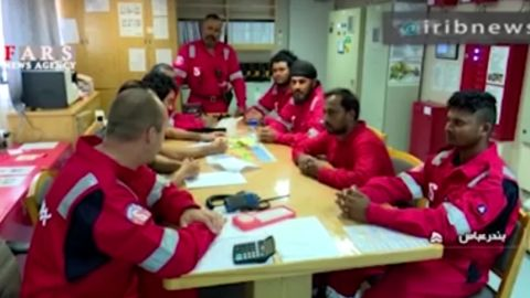 The crew of the Stena Impero pictured in images posted on the website of Iran's state-run Press TV in July.