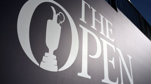 The Open signage is seen on the first day of the Open Golf Championship at Royal Birkdale golf course near Southport in north west England on July 20, 2017. / AFP PHOTO / Oli SCARFF / RESTRICTED TO EDITORIAL USE        (Photo credit should read OLI SCARFF/AFP/Getty Images)