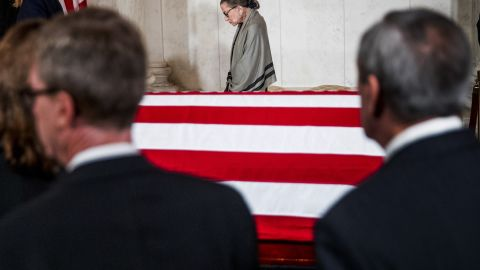 Ginsburg leaves a private ceremony at the Great Hall of the Supreme Court, where former Justice John Paul Stevens was lying in repose in July 2019.