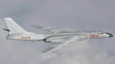 A Chinese H-6K bomber involved in Tuesday's incident as photographed by a Japanese aircraft.
