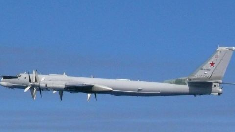 A Russian Tu-95 bomber involved in Tuesday's incident as photographed by Japanese aircraft.