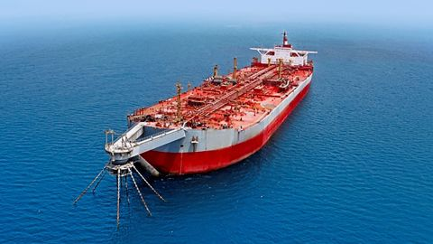 From SEPOC: FSO SAFER, SAFER's proprietary floating storage and offloading vessel, is the terminus for oil produced at Block 18 and transported through the Marib-Ras-Isa pipeline logistics chain. Through our FSO, SAFER operates its maritime domestic distribution and international export operations. Located 4.8 nautical miles offshore of Ras Isa in the Red Sea, FSO SAFER was commissioned in 1987 as a converted single hull super tanker coupled with a single point mooring (SPM) station. The FSO, measuring 360 meter long and 70 meters wide, has a holding capacity of 409,000 DWT(accepts alongside and tandem mooring, and operates 24 hours a day, 365 days a year, weather permitting.