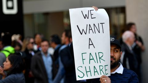 Rideshare drivers around the globe protested ahead of the highly-anticipated Uber IPO. (JOSH EDELSON/AFP/Getty Images)