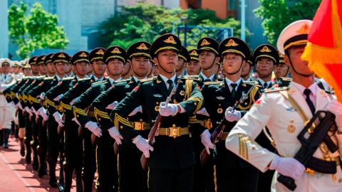 Soldiers of the Peoples' Liberation Army (PLA) march during an open day at the Ngong Shuen Chau Barracks in Hong Kong on June 30, 2019, to mark the 22nd anniversary of Hong Kong's handover from Britain to China on July 1. (Photo by ISAAC LAWRENCE / AFP)        (Photo credit should read ISAAC LAWRENCE/AFP/Getty Images)