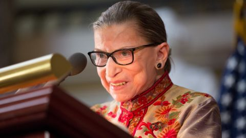 WASHINGTON, DC - MARCH 18: U.S. Supreme Court Justice Ruth Bader Ginsburg speaks at an annual Women's History Month reception hosted by Pelosi in the U.S. capitol building on Capitol Hill in Washington, D.C.  This year's event honored the women Justices of the U.S. Supreme Court: Associate Justices Ruth Bader Ginsburg, Sonia Sotomayor, and Elena Kagan. (Photo by Allison Shelley/Getty Images)
