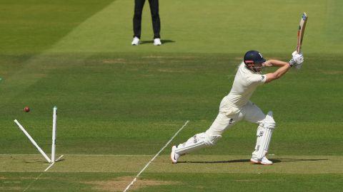 England batsman Jonny Bairstow is bowled by Tim Murtagh.