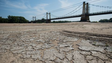 A dry part of the Loire's river bed is seen in Montjean-sur-Loire, France, on Wednesday, July 24.