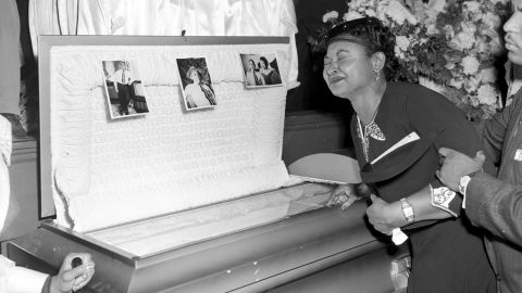 Mamie Till Mobley, mother of Emmett Till, weeps at her son's funeral on September 6, 1955, in Chicago.