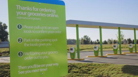Walmart's online grocery pickup location in Bentonville, Arkansas.