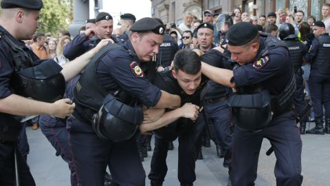 More than 1,000 people were detained during election protests in Moscow at the weekend.