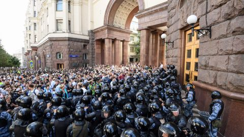 Protesters take to the streets of Moscow after a number of opposition politicians were barred from running in municipal elections in September.