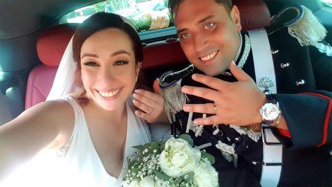 Slain Italian police officer Mario Cerciello Rega with his wife on his wedding day in June.