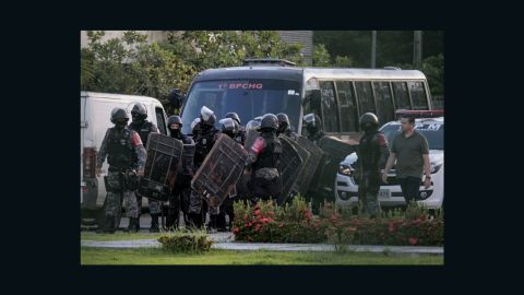 Brazilian riot police prepare to invade the Puraquequara Prison facility at Bela Vista community, Puraquequara neighborhood at the city of Manaus, Amazonas state on May 27, 2019. - At least 40 inmates were killed in four jails in northern Brazil on Monday, authorities said, in the latest wave of violence to rock the country's severely overpopulated and dangerous prison system. (Photo by Sandro Pereira / AFP)        (Photo credit should read SANDRO PEREIRA/AFP/Getty Images)