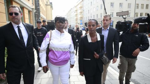 """""""This is a nightmare!"""" A$AP Rocky's mother Renee Black (second from left), told the press at the district court in Stockholm."""
