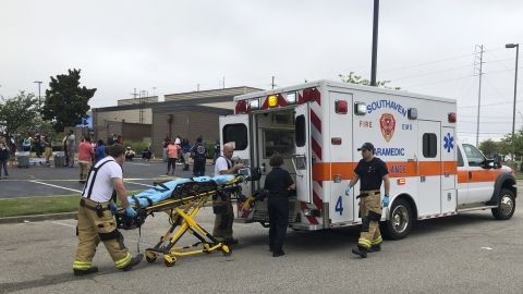 Medical staff respond to a shooting Tuesday at a Walmart in Southaven, Mississppi.