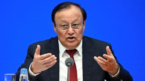 Shohrat Zakir, chairman of the Xinjiang Uyghur Autonomous Region, speaks at a press conference in Beijing on July 30.
