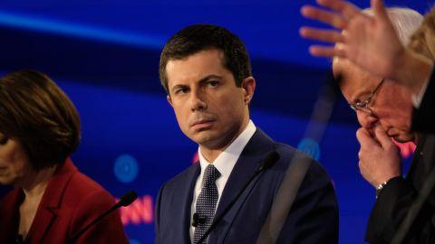 Buttigieg takes part in CNN's Democratic debates in July 2019.