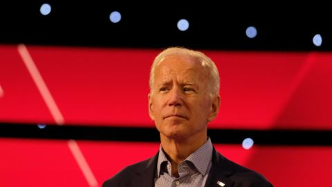 Former US Vice President Joe Biden takes part in a walkthrough ahead of the Democratic presidential debate at the Fox Theater in Detroit on Wednesday, July 31.