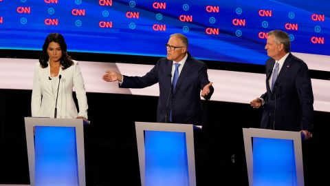 """Inslee participates in the CNN Democratic debates in July 2019. """"The time is up,"""" he said, referring to climate change. <a href=""""https://www.cnn.com/politics/live-news/democratic-debate-july-31-2019/h_b53ac5038556ee8fa3e5f7388e965e02"""" target=""""_blank"""">""""Our house is on fire."""" </a>"""