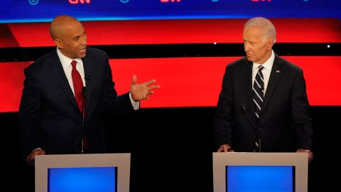 Presidential candidates Cory Booker and Joe Biden participate in the CNN Democratic debate in Detroit on Wednesday, July 31.