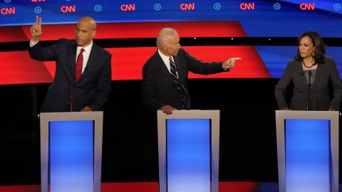 Booker looks to be called on during the CNN Democratic debates in July 2019.