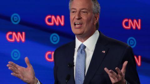 Democratic presidential candidate New York City Mayor Bill de Blasio speaks during the Democratic presidential debate in Detroit.