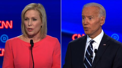 Presidential candidate US Sen. Kirsten Gillibrand and Former Vice President Joe Biden participates in the CNN Democratic debate in Detroit on Wednesday, July 31.