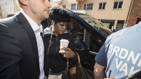Renee Black, A$AP Rocky's mother, arrives at the courthouse on Thursday.