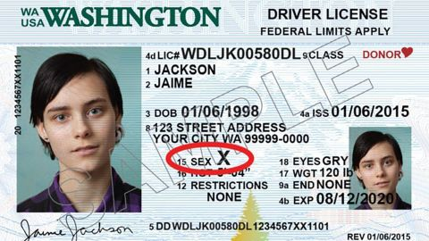 Washington state will offer a third option for gender on state ID cards, allowing those who do not identify as male or female to identify as X.