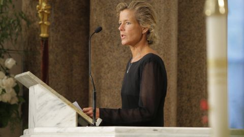 Kara Kennedy, daughter of Ted Kennedy, died of a heart attack in 2011 after her daily workout. Seen here, she speaks at her father's funeral in 2009.