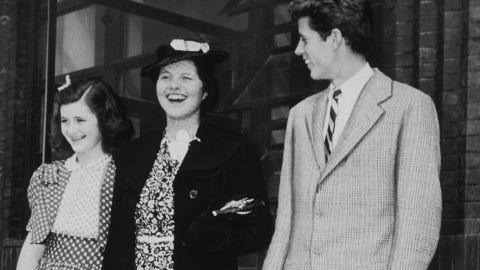 """President Kennedy's sister, Rosemary Kennedy (center), had part of her brain removed in 1941 in a relatively new procedure known as a prefrontal lobotomy. The family had long described her as """"intellectually slow."""" The operation only worsened her condition and she was institutionalized until her death in 2005 at age 86."""