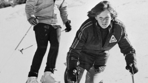 In 1973, Ted Kennedy's 12-year-old son Edward Jr. lost a leg to bone cancer. Kennedy is seen here skiing with his father in 1974.