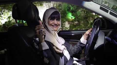 Munirah al-Sinani, a 72-year-old Saudi woman, drives her car in the eastern Saudi Arabian city of Dhahran on June 11, 2019.
